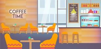 Современное кафе внутреннее опорожняет без людей внутрь иллюстрация вектора
