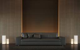 Современное коричневое изображение перевода стиля 3d живущей комнаты внутреннее минимальное Стоковая Фотография RF