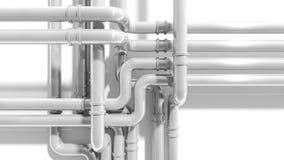 Современное промышленное пересечение трубопровода металла Стоковые Изображения RF