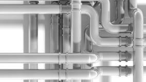Современное промышленное пересечение трубопровода металла Стоковая Фотография