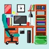 Современное рабочее место в комнате Стоковые Изображения