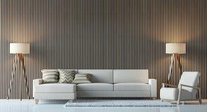 Современное современное изображение перевода 3d живущей комнаты внутреннее Стоковое Изображение