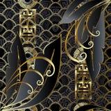Современное творческое золото и черная безшовная картина 3d иллюстрация вектора
