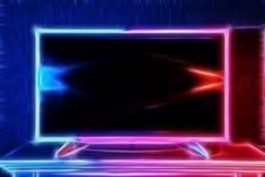 Современное ТВ накаляя с неоновым светом в ярких цветах Стоковые Изображения RF