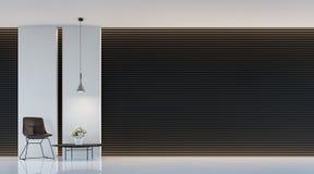Современное черно-белое изображение перевода 3d живущей комнаты внутреннее Стоковое Фото