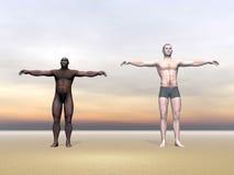 Современное erectus человека и гомо - 3D представляют Стоковая Фотография RF