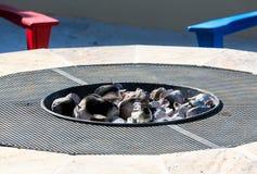 Современное firepit с белыми горячими углями Стоковые Фото