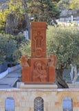 Современное khachkar с традиционным армянским символизмом в Иерусалиме Стоковое фото RF