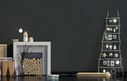 Современное minimalistic рождество внутреннее, скандинавский стиль 3D i Стоковое Изображение RF