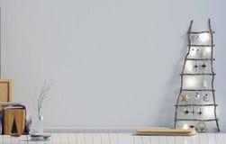 Современное minimalistic рождество внутреннее, скандинавский стиль 3D i Стоковые Изображения