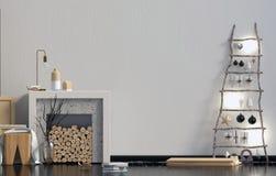 Современное minimalistic рождество внутреннее, скандинавский стиль 3D i Стоковое фото RF