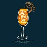 Современной нарисованный рукой ярлык литерности для коктеиля Стоковая Фотография