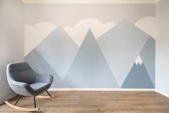 Современной скандинавской комната дизайна стиля покрашенная настенной росписью стоковые изображения