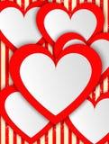 Современные абстрактные сердца красного цвета предпосылки иллюстрация штока
