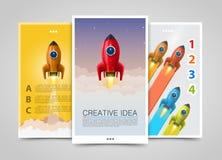 Современные вертикальные знамена, творческая идея, руководитель 3d вверх, рогулька Ракеты иллюстрация вектора