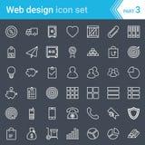 Современные, заштрихованные значки веб-дизайна, seo и развития изолированные на темной предпосылке Стоковое Фото
