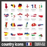 Современные значки карты страны с флагами участвуя команд к окончательному турниру футбола цвета евро 2016 Стоковая Фотография RF