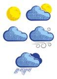 Современные значки погоды в стиле гравировки Стоковое фото RF