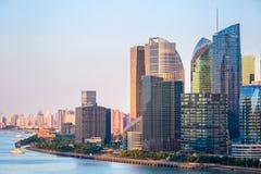Современные здания финансов на сумраке Стоковое Фото