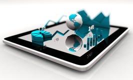 Современные диаграммы финансовых дочументов, диаграммы и глобус земли на экране таблетки Стоковое Изображение RF
