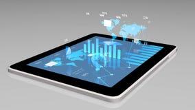 Современные диаграммы финансовых дочументов, диаграммы и глобус земли на экране таблетки Стоковая Фотография RF