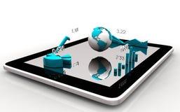 Современные диаграммы финансовых дочументов, диаграммы и глобус земли на экране таблетки Стоковое Изображение