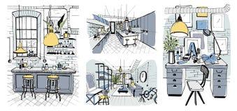 Современные интерьеры комнаты в стиле просторной квартиры Комплект иллюстрации нарисованной рукой красочной Стоковое Изображение