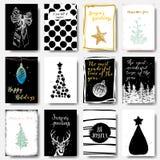 Современные и классические творческие рождественские открытки в черноте, золоте и w стоковые фотографии rf