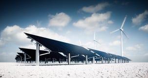 Современные и футуристические астетические черные панели солнечных батарей большой фотовольтайческой электростанции с ветротурбин иллюстрация вектора