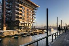 Современные квартиры портового района на сумраке в районе Aker Brygge, Стоковые Фото