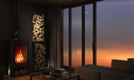 Современные квартиры просторной квартиры с камином стоковое изображение rf