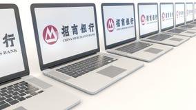 Современные компьтер-книжки с логотипом банка купцев Китая Зажим передовицы 4K компьютерной технологии схематический, безшовная п иллюстрация вектора