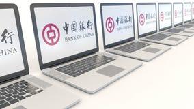 Современные компьтер-книжки с логотипом Государственного банка Китая Зажим передовицы 4K компьютерной технологии схематический, б бесплатная иллюстрация