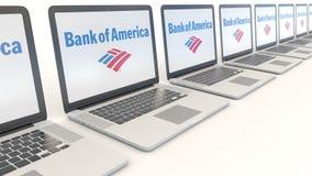 Современные компьтер-книжки с логотипом Государственного банка Америки Зажим передовицы 4K компьютерной технологии схематический, иллюстрация штока