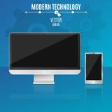 Современные компьютер и телефон на голубой предпосылке Пустой, черный экран монитора Высок-техник также вектор иллюстрации притяж бесплатная иллюстрация