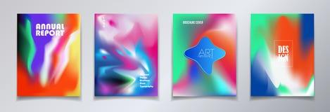 Современные крышки брошюры установили динамический уникально градиент иллюстрация штока