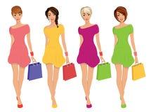 Современные молодые сексуальные диаграммы ходя по магазинам девушек с иллюстрацией моды продажи изолированной сумками иллюстрация штока