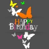 Современные неоновые бабочки с днем рождения Стоковые Изображения