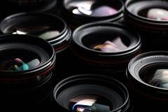 Современные объективы фотоаппарата с отражениями стоковые фотографии rf