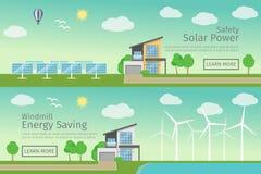 Современные дома с альтернативным Eco зеленеют энергию, плоские концепция сети знамена установленная Стоковое Изображение