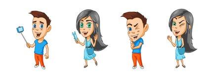 Современные персонажи из мультфильма мальчик и блоггеры девушки с устройствами в их руках и winks Стоковые Изображения RF