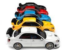 Современные путешествуя гоночные машины в красной, голубой, желтый, черно-белый иллюстрация штока