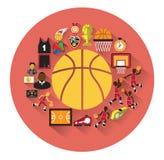 Современные плоские значки баскетбола установили с длинным влиянием тени Стоковая Фотография