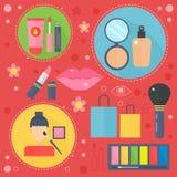 Современные плоские значки красоты дизайна и концепции покупок Значки для красоты, покупок, концепции здравоохранения тела моды иллюстрация штока