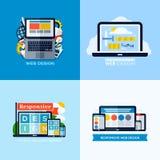 Современные плоские концепции вектора отзывчивого веб-дизайна установленные иконы Стоковое Изображение