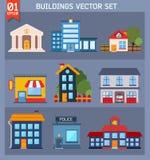 Современные плоские установленные здания вектора. Стоковые Фотографии RF