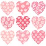 Современные розовые сердца с точками, scribbles и текстурой Иллюстрация вектора