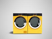 Современные стиральные машины апельсина 2 для многодетной семьи 3d представляют дальше иллюстрация вектора