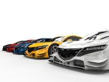 Современные супер красочные автомобили концепции спорт иллюстрация вектора