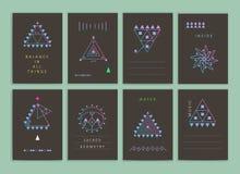 Современные творческие неоновые карточки Стоковое Изображение